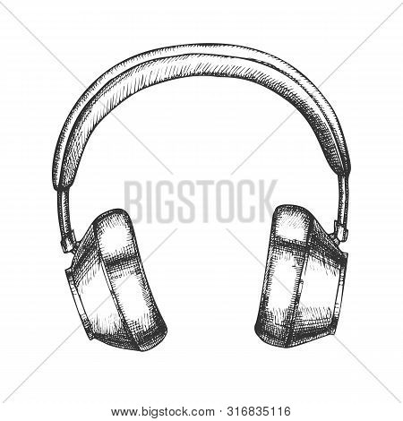 Hipster Accessory Wireless Headphones Ink Vector. Bluetooth Speakers Headphones For Listening Music