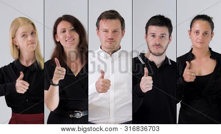 Business team likes and showing thumbs up. Collage, 4k resolution.