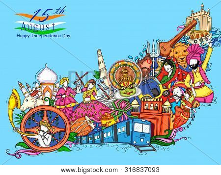 Vector Design Of Indian Collage Illustration Showing Culture, Tradition And Festival On Happy Indepe