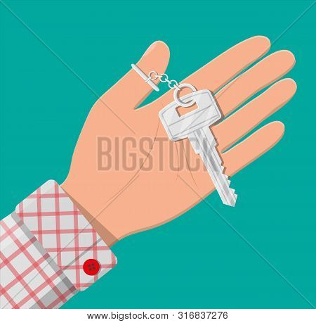 Hand With Metal Key. Real Estate, Mortgage, Car Sale, Rent Apartments Or House. Vector Illustration