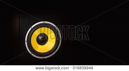 High Quality Loudspeaker Close On Dark Background With Space For Text.hifi Sound System For Sound Re