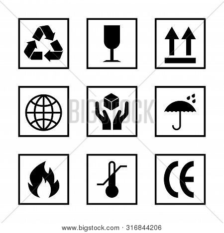 Packaging Pictogram Set Isolated On White Background. Packing Icon Collection Including Fragile, Rec