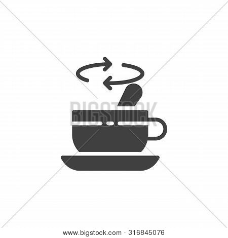 Tea Stirring With Spoon Vector Icon. Filled Flat Sign For Mobile Concept And Web Design. Cup Of Tea