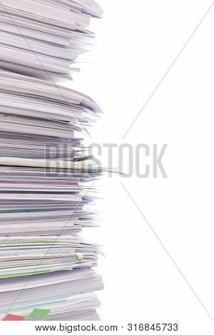 Stack Of Business Documents Papers Isolated On White Background