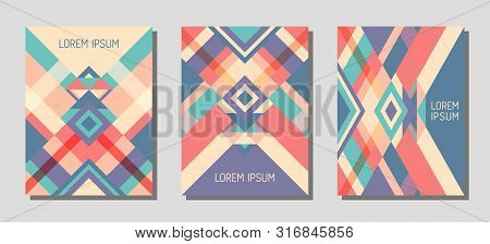 Collection Of Cover Page Layouts, Vector Templates Geometric Design With Triangles And Stripes. Folk