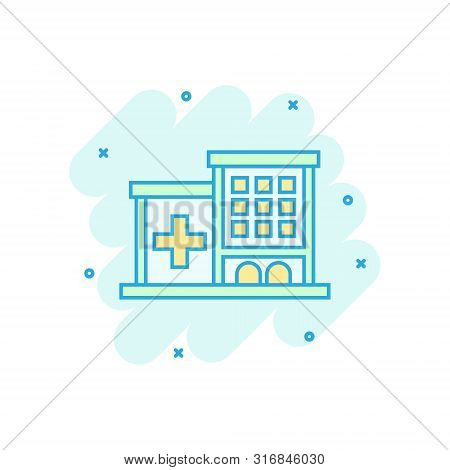 Hospital Building Icon In Comic Style. Infirmary Vector Cartoon Illustration On White Isolated Backg