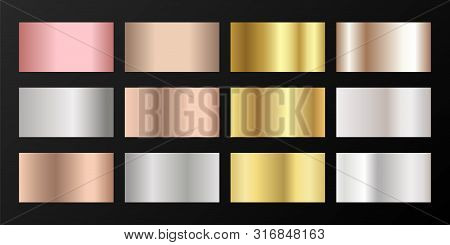 Metallic Gradients Vector Set: Golden, Silver, Platinum, Bronze, Rose Gold. Polished Iron, Chrome, A
