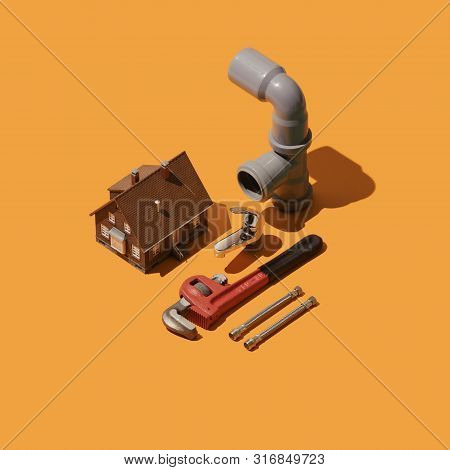 Home Renovation And Isometric Professional Plumbing Tools