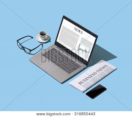 Online Business News And Financial Newspaper, Isometric Desktop, Information And Press Concept