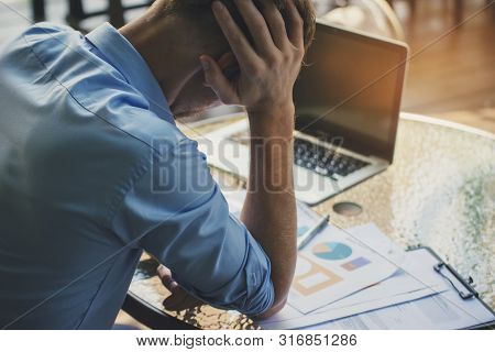 Stressed Businessman,frustrated And Upset In Business Pressure And Overworked At Office.adult Caucas