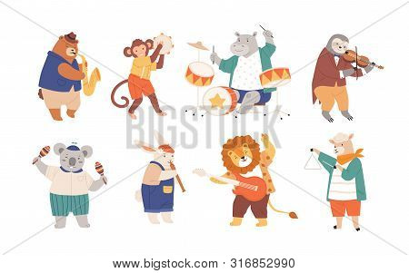 Bundle Of Funny Animals Playing Musical Instruments Isolated On White Background. Collection Of Cute