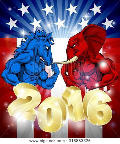 A Donkey Versus Elephant 2016 Election Or Presidential Election Debate Concept Poster With The Symbo