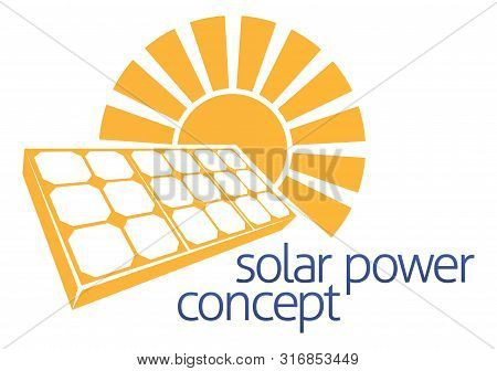 A Concept Icon Of Sun And Solar Energy Panel Photovoltaics Cell