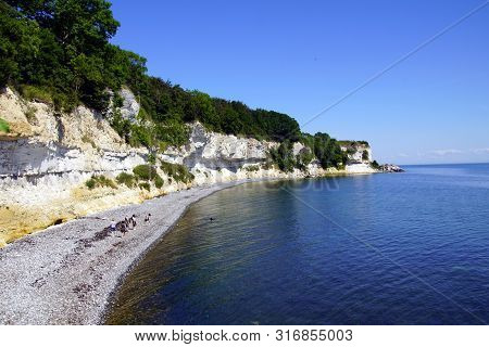 Stevns Klint, A White Chalk Cliff In The Southeast Of Store Heddinge On The Danish Island Of Zealand