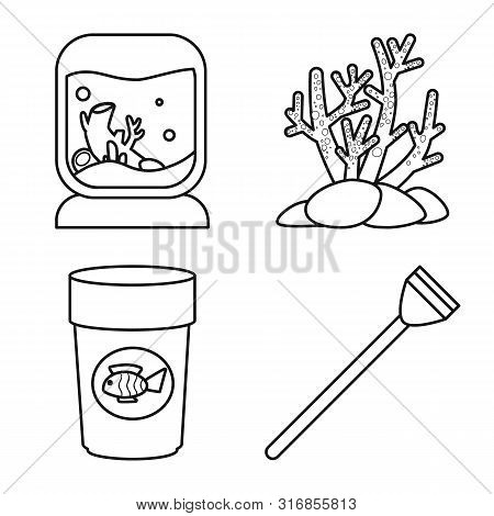 Vector Design Of Fishbowl And Accessory Icon. Set Of Fishbowl And Care Vector Icon For Stock.