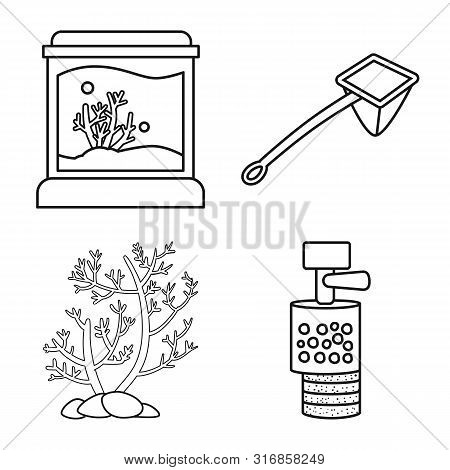 Isolated Object Of Fishbowl And Accessory Logo. Set Of Fishbowl And Care Stock Vector Illustration.