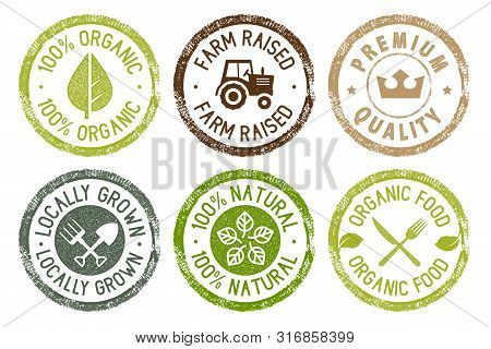 Organic Food, Farm Fresh And Natural Products Stickers Collection. Vector Illustration For Food Mark
