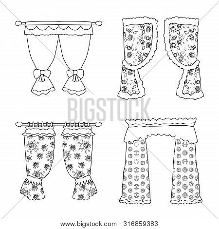 Isolated Object Of Fabric And Decoration Symbol. Set Of Fabric And Cornice Stock Vector Illustration