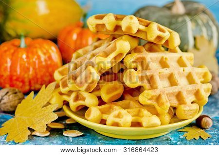 Pumpkin Waffles, Homemade Sweet Belgian Waffles With Pumpkin Puree And Honey