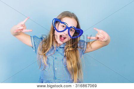 Power Of Love. Kid Girl Heart Shaped Eyeglasses. Girl Adorable Smiling Face Fall In Love. Child Char