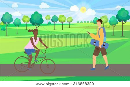 Woman Sitting On Bicycle, Man Holding Skateboard And Phone, Skateboarder And Bicyclist In Park, Sunn