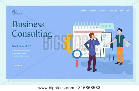 Business consulting webpage, researching strategy. Businessman cooperation, consultant and solution service, people communication technology vector. Website template, people near clipboard poster