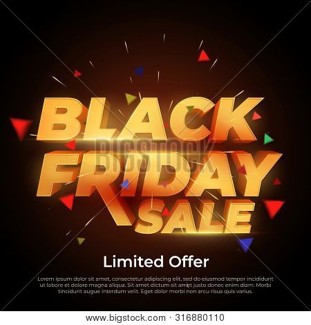 Black Friday Sale. 3d Letters Numbers Gold. Sale And Discounts Banners. Creative Glowing Social Medi