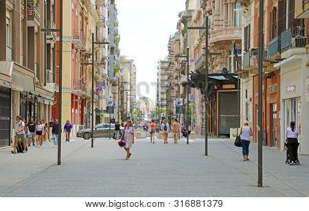 Bari, Italy - July 28, 2019: View Of Teatro Margherita Theater At Corso Cavour Avenue In Bari, Italy