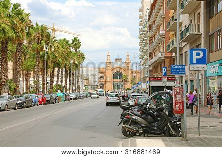 Bari, Italy - July 28, 2019: View Of Corso Vittorio Emanuele Avenue And Teatro Margherita Theater On