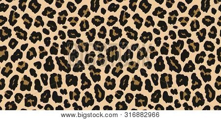 Leopard Print. Vector Seamless Pattern. Animal Jaguar Skin Background With Black And Brown Spots On