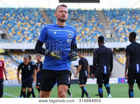 Kyiv, Ukraine - August 13, 2019: Simon Mignolet Of Club Brugge In Action During The Training Session
