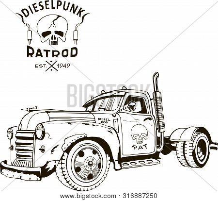 Diesel Punk Hot Rod Truck, Isolated, Vector Arts, Kustom Kulture, Post Apocalypse Zombie War