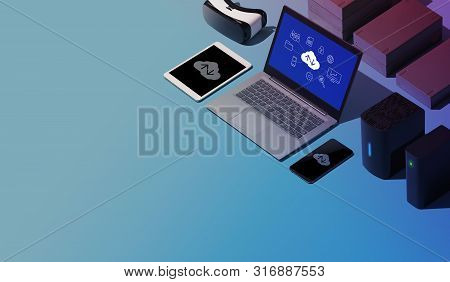 Cloud Computing, Data Transmission, Storage And Backup Concept: Isometric Computer, Servers And Hard