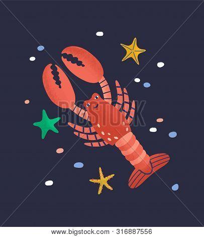 Smiling Lobster Isolated On Dark Background. Amusing Happy Marine Animal, Crustacean, Cute Funny Und