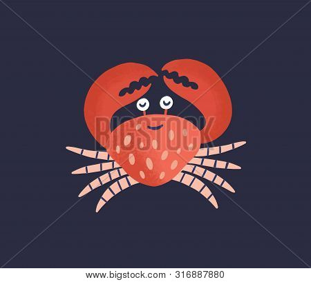 Cute Smiling Crab Isolated On Dark Background. Happy Marine Animal, Adorable Crustacean, Sea World D