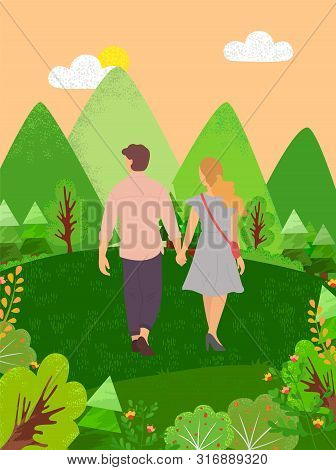 Dating Couple Walking In Forest Back View. Vector Cartoon People In Summer Cloth Spend Time Together
