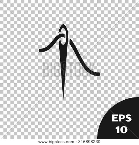 Black Needle For Sewing With Thread Icon Isolated On Transparent Background. Tailor Symbol. Textile