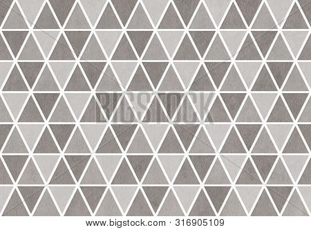 Watercolor Gray Triangle Pattern. Watercolor Geometric Pattern.