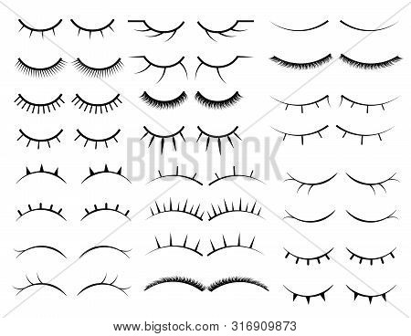 Set Of Female Eyelashes. Collection Of False Eyelashes.  Closed Eyes. Female Makeup. Silhouette Draw