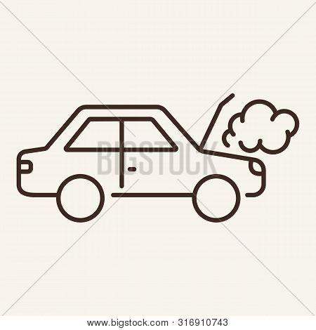 Engine Overheated Line Icon. Car, Fume, Overheat. Car Repair Concept. Vector Illustration Can Be Use