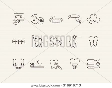 Stomatology Line Icon Set. Teeth, Brush, Dentist, Implant, Braces. Dental Care Concept. Can Be Used