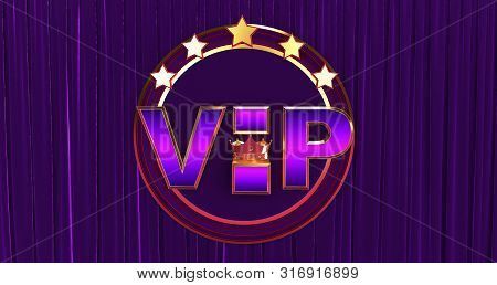 poster of 3D rendering of Golden VIP withe Crown, Royal gold VIP crown on a silk background, Crown VIP with stars