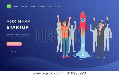 Business Startup Vector, People Happy To Launch Rocket Spaceship, Successful Team Working On Common