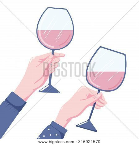 Human Hand Holding Glass Of Red Wine, Two Variants, Flat Style Vector Illustration Isolated On White