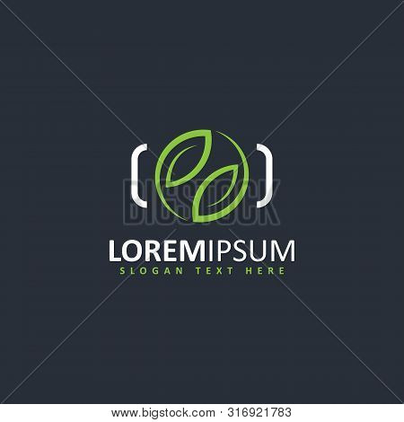 Vector Of A Camera Shutter And Leaf Logo Combination. Color Green Leaf And Shutter White On Backgrou