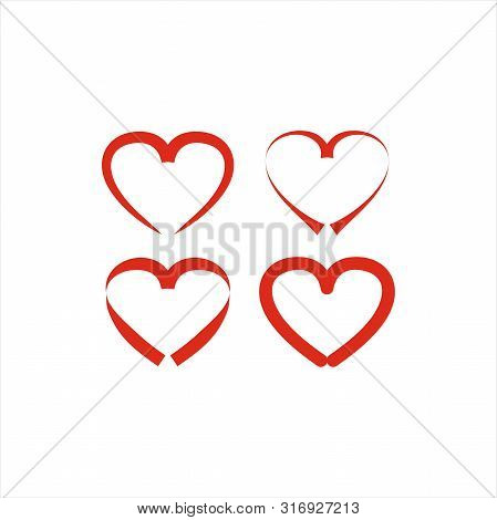 Vector Love Hearts Concept. Love Icons. Romantic Love Isolated On White Background.