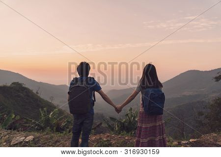 Hiking Young Couple Traveler Looking Beautiful Landscape, Travel Lifestyle Concept