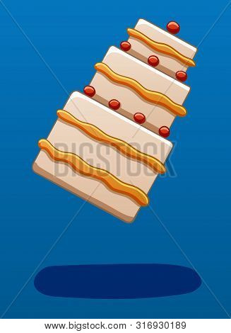 Three-story Cream Cake Decorated With Cherries Soars In The Air On A Blue Background In Vector. Ther
