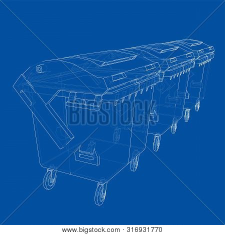 Outline Dumpster Or Dustbin Vector. Wire-frame Style. The Layers Of Visible And Invisible Lines. 3d