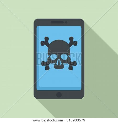 Hacked Smartphone Icon. Flat Illustration Of Hacked Smartphone Vector Icon For Web Design